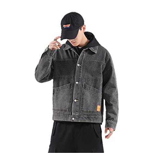 UKKO Giacca di Jeans Giacca da Uomo in Denim Streetwear Hip Hop Maschile Jean Giacche Maschio Casual Allentato Tuta Sportiva Colletto Manica Lunga Giacche