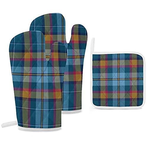Lot de 3 maniques et maniques de cuisine Cian Carroll Clan Clan Gants de cuisine antidérapants réutilisables pour la cuisine, la cuisson,...