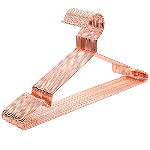SONGMICS Metalen hangers, 20 stuks, stijlvol verchroomd, roestvrij, ruimtebesparend, 42 cm lang, roségoud CRI44R20