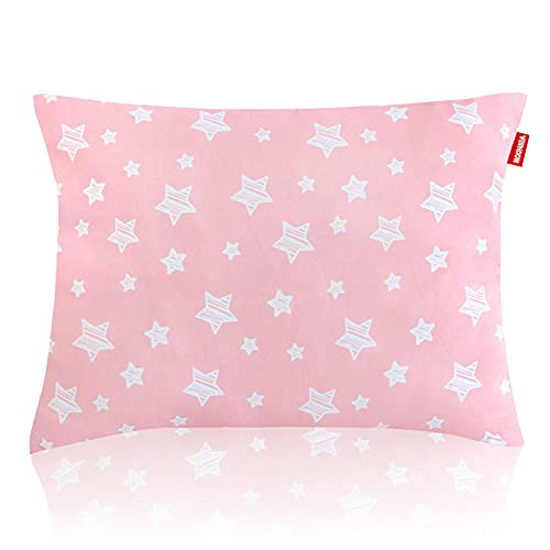 Print Toddler Pillows, Toddler Pillow for Sleeping, Ultra Soft Kids Pillows for Sleeping, 14 x 19 inch Perfect for Travel, Toddler Cot, Baby Crib, No Pillowcase Needed (Pink Star)