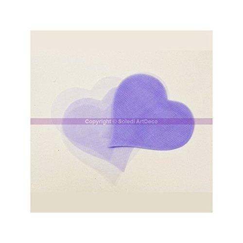 HOBI Lot de 50 Coeurs en Organza Fin de Couleur Parme, Dimension 8,5 cm x 8,5 cm