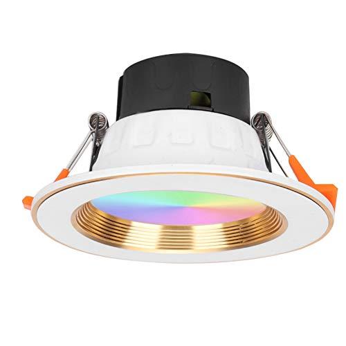 Downlight de luz Wi-Fi, Aluminio Blanco Duradero + PC 16 Millones de Colores Downlight LED de Wi-Fi, Resistente y Duradero Google Home para Amazon Alexa
