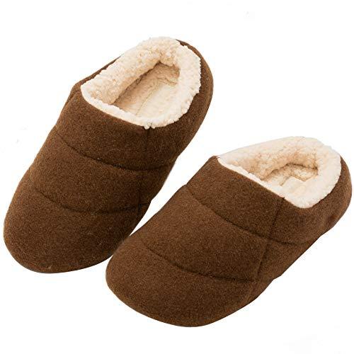 [KOCOTA] ウールフェルト ルームシューズ 北欧 ボアスリッパ 室内履き 防寒 滑りやめ 男女兼用 ブラウン 30-31cm