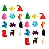 Toyvian, 24 segnabicchieri natalizi per calici da vino, con ventosa, ciondoli per calici d...