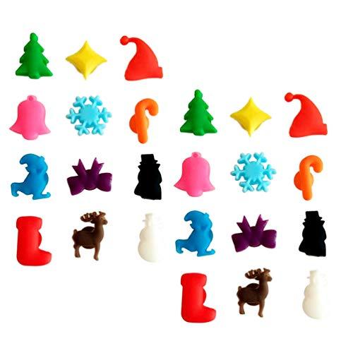 Toyvian, 24 segnabicchieri natalizi per calici da vino, con ventosa, ciondoli per calici da vino, decorazioni per la tavola