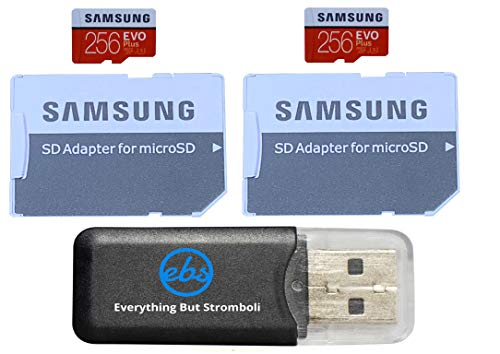 Samsung Evo Plus 256GB MicroSD Memory Card (2 Pack) Works with GoPro Hero 9 Black (Hero9) 4K UHD, UHS-I, U1, Speed Class 10, SDXC (MB-MC256) Bundle with (1) Everything But Stromboli Micro Card Reader