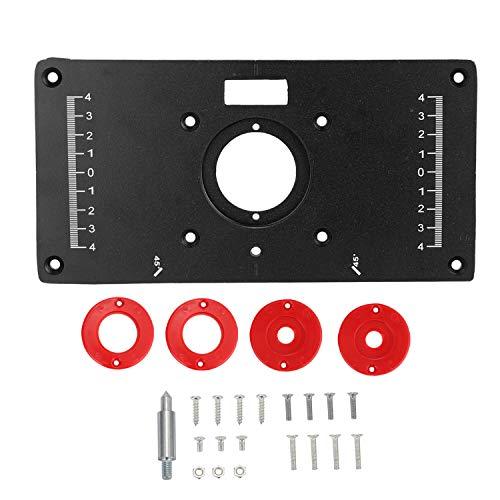 """Ritioner Bancos de placa de inserción de mesa, 9.3""""x4.7"""" x0.3"""", modelos de cortadora de enrutador de madera de aleación de aluminio Máquina de grabado con 4 anillos y tornillos"""