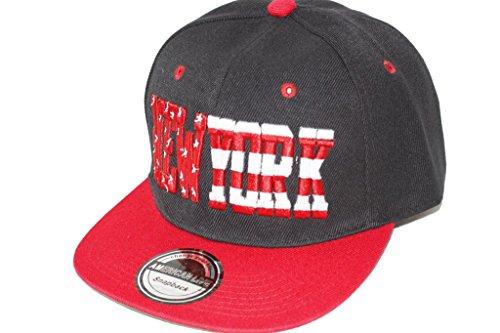 Hip Hop Casquette chapeau CITY SNAPBACK équipe ville américaine FS-413 (NEW YORK-SCHWARZ-ROT-)