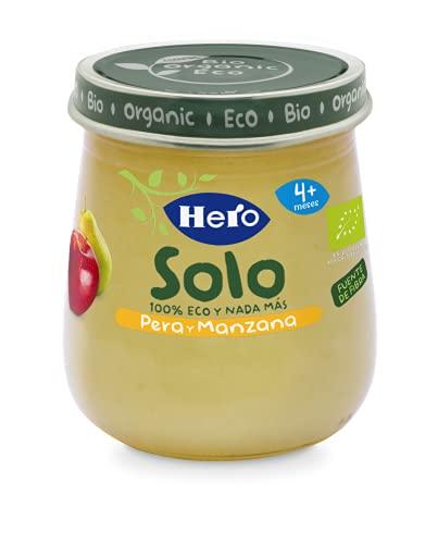 Hero Solo Tarritos Ecológicos de Pera y Manzana - Para Bebés a Partir de los 4 Meses - Pack de 12 x 120 g