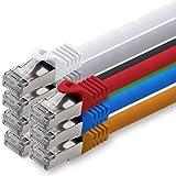 3,0m - 7 Colores - 7 Piezas - Cat.7 Cable de Red (Set) - 10 GB/s - Ethernet LAN 600MHz Cable Patch CAT7 S-FTP Doble blindado PIMF Libre de halógenos Compatible con CAT5 CAT6a CAT6a CAT8