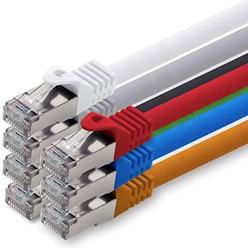 0,5m - 7 Couleurs - 7 pièces - Cat.7 Câble Ethernet (Set) - Cat 7 Câble Réseau RJ45 10000 Mo/s câble de Patch LAN Câble S-FTP PIMF 500 MHz sans halogène Compatible avec Cat 5e / Cat 6 / Cat 6a