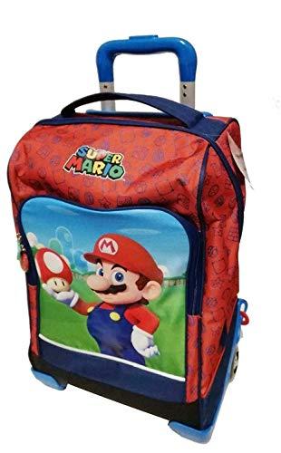 Schulrucksack Trolley Super Mario mit Pilz Version Deluxe Reise + Federmäppchen 3 Etagen komplett + Pfeife + Gratis Farbstift