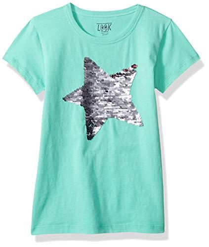 LOOK by crewcuts Mädchen-T-Shirt mit Pailletten, Green Star, 6-7