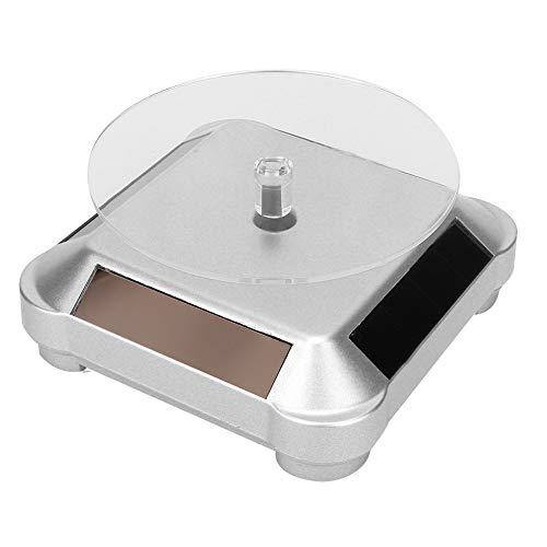 KASD Rotierender Schmuckständer, batteriebetriebener drehbarer Mehrzweck-Schmuckständer Solarenergie für Display-Uhren Schmuck, Kosmetik(Silber)