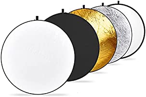 NEEWER Portable 5in1 Folding Round Light Reflector,Black/Gold/Silver