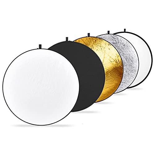 Neewer 110CM 43-Inch 5 en1 - Reflector de luz plegable de discos múltiples, color negro, oro, plata, transparente, blanco