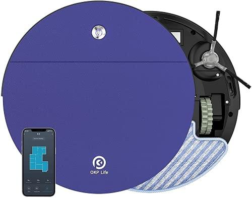 Robot Aspirapolvere Mini,2200Pa Aspira e Lava Contemporaneamente 6D Sensore di Collisione App/Alexa 500ml Rilevamento Ostacolo Silenzioso Ideale per Tappeti a Pelo Basso Pavimenti Duri Peli di Animali