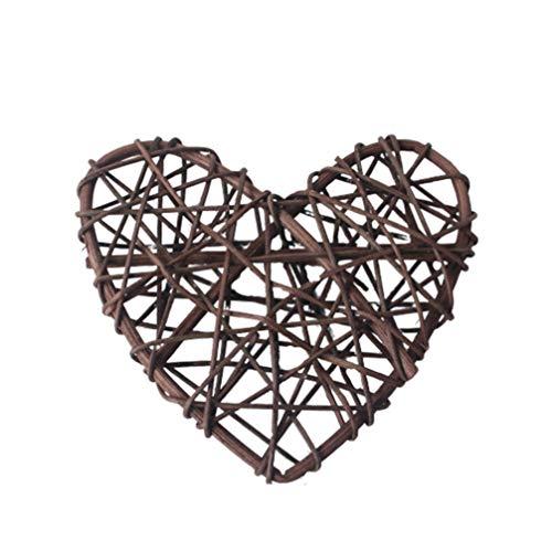 BESPORTBLE Ciondolo a forma di cuore con corona, in rattan, decorazione rustica per porta, ghirlanda decorativa per la casa, 30 cm