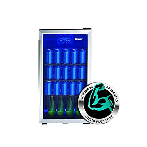 "Danby DBC117A2BSSDD-6 18"" Stainless Steel Beverage Center with 117 Can Capacity, 3.1 cu. ft. Capacity, Blue LED Lighting and Door Lock, in Stainless Steel"