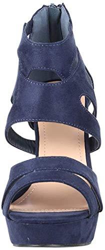 Elara Zapato de Tacón Alto Mujer Abierto Stilettos Chunkyrayan Azul Oscuro LL85 Navy-36
