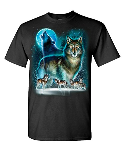 Wolf Moon Silhouette Native Spirit Animal - Mens Cotton T-Shirt, L, Black