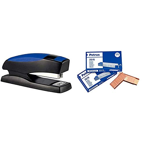 PETRUS 44815 - Grapadora para hogar / oficina modelo 435 Golf color azul + 22/6 - Grapas
