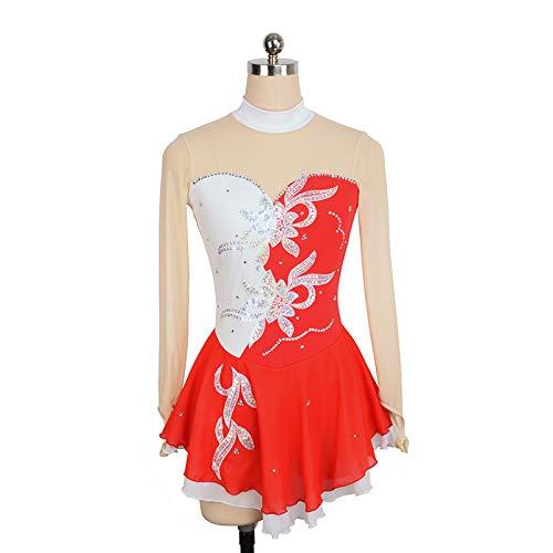 JTKDL Eiskunstlauf Kleid Für Mädchen Eislauf Wettbewerb Eistanz Performance Eislaufen Kostüm Mit Kristallen Tanzkleid Langärmelige Trikots,B-XXXS