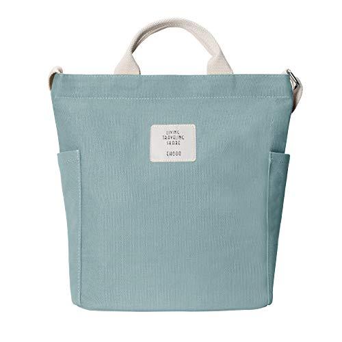 Yidarton Damen Umhängetaschen groß Tasche Casual Handtasche Canvas Chic Damen Schultertasche Henkeltasche für Schule Shopping Arbeit Einkauf (Mintgrün)