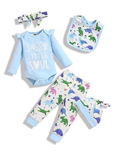Baby Daddy's Girl Vestiti Dinosauro Animale Vestito Neonato Body Pantaloni Cappello Infantile Carino Casa Pagliaccetto, Blu, 6 mesi