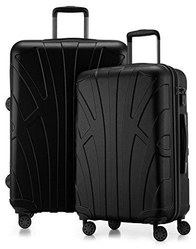 Suitline - 2er Koffer-Set Trolley-Set Rollkoffer Hartschalen-Koffer Reisekoffer, TSA, (66...