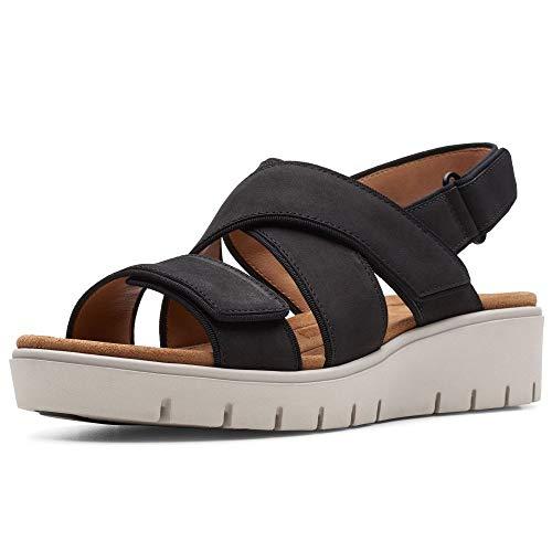 Clarks Un Karely Dew Damen Sandalen mit Keilabsatz, Schwarz - Schwarz - Größe: 41 EU