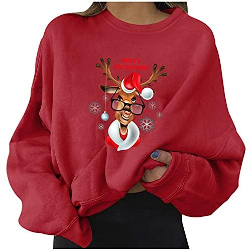 2021 Navidad Sudadera sin Capucha para Mujer Moda Manga Larga Casual impresión Jerséis Invierno Cuello Redondo Jersey Mujer Otoño Primavera Blusa Tops tumblr Suéter Mujer Abrigo deportiva