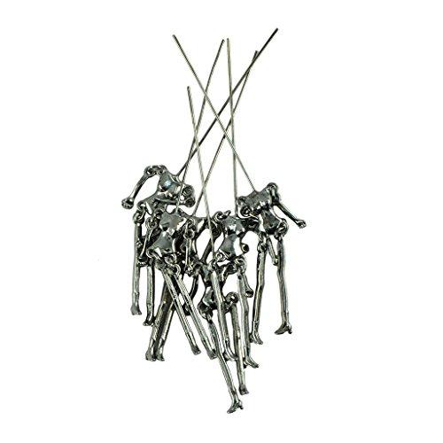 MagiDeal 6 Stk. DIY Schmuck Anhänger Skelett Selbst Verschönen Puppe-Anhänger Bronze - Hämatitschwarz