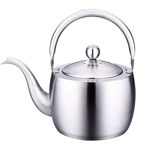 WMMCM Roestvrijstalen theepot met afgeronde greep en deksel, perfect voor thee, koffie en flacon geïnfundeerde dranken, ideaal voor alle inductiekookplaten, open haard theeset, ketel, verdikte woning, ketel, 1,5 l