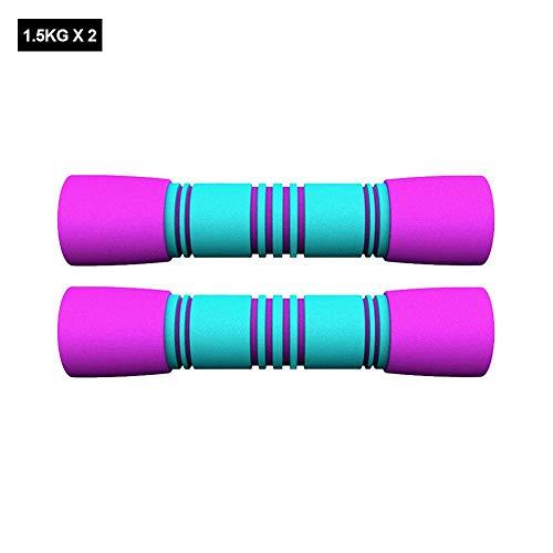Renoble Hantel-Set, Hantel-Set, 1 kg / 1,5 kg Gewicht, für Fitnessübungen, rutschfester Griff, Hanteln, für Damen, Fitnessstudio zu Hause, 2 Stück