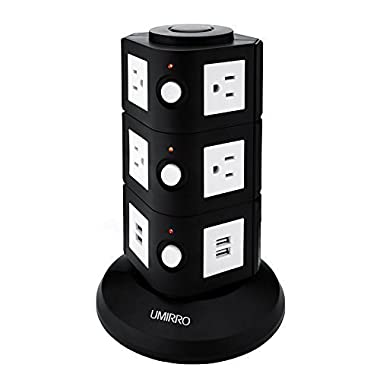 Power Strip, Umirro PowerCastle USB Surge Protector and Charger with 8 AC Outlets, 4 USB Ports 6.8 AMP/35 Watt, 1080 Joules Surge Protection - Pure Black