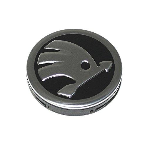 Skoda 5E0601151FOD Nabenabdeckung (1 Stück) Radzierkappe Felgendeckel Kappe Nabenkappe schwarz chrom