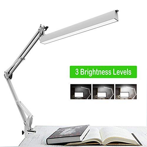 Lámpara de escritorio LED, lámpara de trabajo de arquitecto, brazo de oscilación de metal Lámpara de mesa de dibujo regulable con abrazadera Plegable Iluminación Luz...