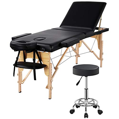 Yaheetech Wood 3 Folding Massage Table with Rolling Stool Portable Massage Bed Spa Bed Stool Adjustable Swivel Salon Chair Massage Therapy Table with Headrest & Armrest Black