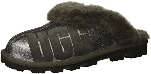 UGG Women's W Coquette Sparkle Slipper, charcoal, 8 M US