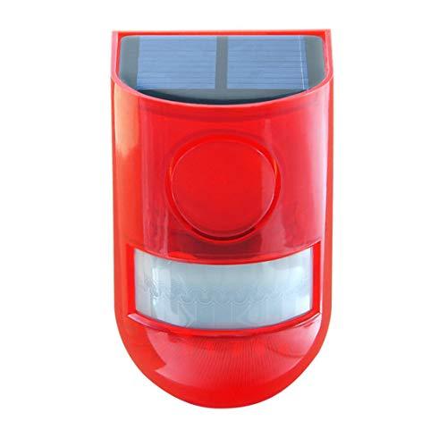 DDyna Alerta de Sonido Solar Advertencia de Flash 110 Decibelios Alarma de luz y Sonido Sensor de Movimiento Sirena Sistema de Alarma de Seguridad estroboscópica para Granja - Rojo