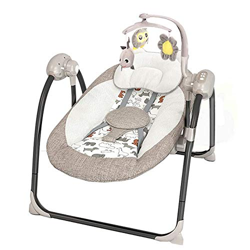 BAIDEFENG Electric Baby Swing, Infant Bouncer/Seat Chair Rocker Cradle with 12 Soft Melodies 5 Swinging Speed and A Mosquito Net