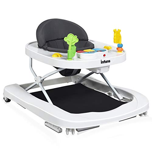 INFANS Foldable Baby Walker, 3 in 1 Toddler Walker Bouncer, Learning-Seated, Walk-Behind, Music, Adjustable Height, High Back Padded Seat, Detachable Trampoline Mat, Activity Walker with Toys, Grey
