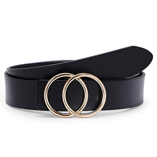 Fashion Belts for Women Black Leather Belt for Jeans Dress Pants with Gold Double O-Ring Buckle