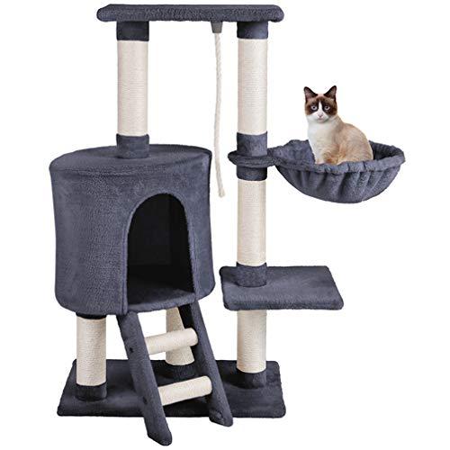 MC Star Árbol para Gatos, Rascador para Gatos, Torre para Gatos, Hamaca Plataformas Arañazo Juguete de Gatos de Sisal Natural (Gris, 54x30x96cm)