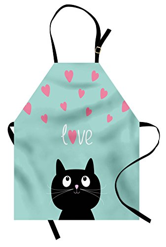 Lunarable Valentines Apron, Kitty Heart Cat Companions Kids Children Illustration, Unisex Kitchen Bib with Adjustable Neck for Cooking Gardening, Adult Size, Seafoam Black