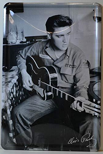 Blechschilder Elvis Presley Gitarre U.S Army Bekannte Persönlichkeiten Celebrities Deko Schild Metallschild Retro Türschild Vintage Eingang Geschenk zum Geburtstag oder Weihnachten 20x30 cm