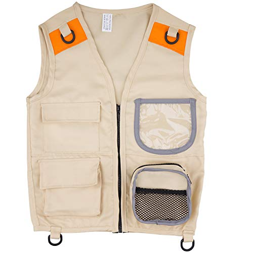 PATHFINDER PANDAS Kids Safari Vest for Outdoor Explorer Costume, age 3-7 years old. Washable Durable 48 x 38cm Tactical Cargo Vest for Backyard Safari Outfit. Perfect for Dress-up, Role Play &Hiking