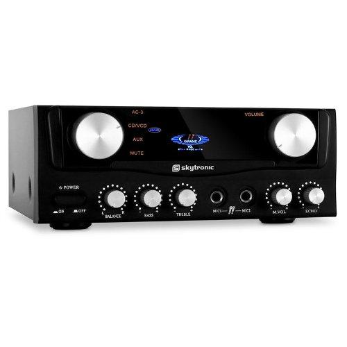 Skytronic Amplificador HiFi 2 entradas micrófono. 2 x 50 Watts RMS
