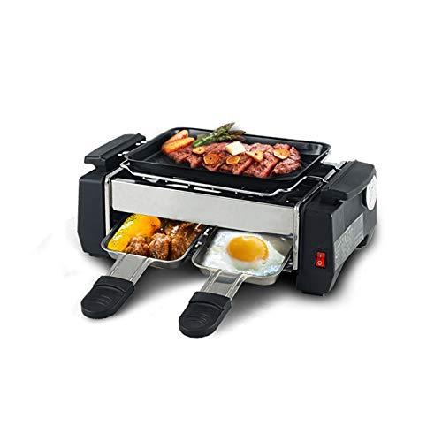 ZQQFR Pareja portátil Raclette Grill doméstico sin Humo Pareja Coreana hogar pequeño Mini Estudiante Teppanyaki Parrilla eléctrica 25 * 15 * 8 cm,Negro